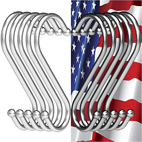 RE-Style S Hooks Kitchen Pot Racks- Hooks 4 inch, Metal+Chrome hook hanger clothes storage rack, Hangers for Kitchen, Bathroom, Garage. Heavy Duty S Shaped 10 Pack