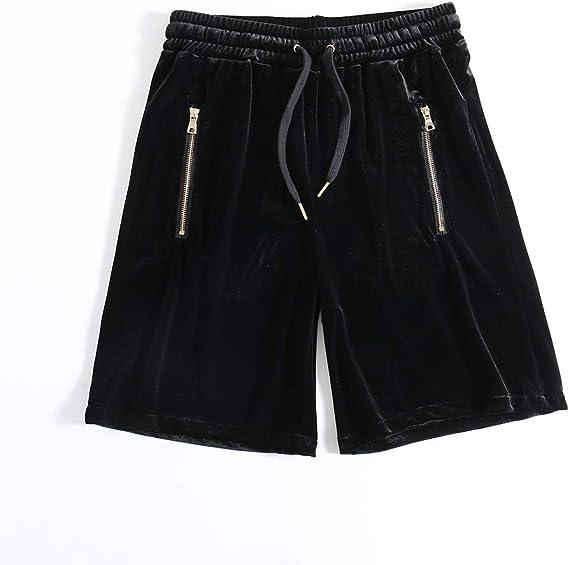 HANGJIA Mens Velvet Shorts Velour Hip-hop Joggers Casual Zipper Pockets Sides Stretch Elastic Waist