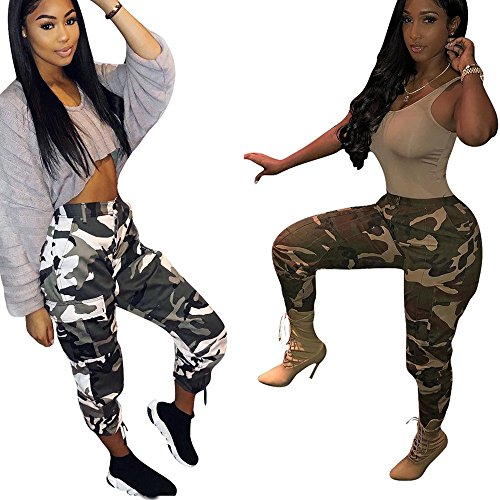 Cargo Malloom Fashion Mujer De Casual Camuflaje Flojos Amarillo Al Jeans Camo 2018 Pantalones Largos Libre Aire aqIIwrY1