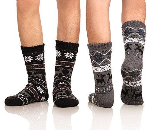 DoSmart Men Winter Thermal Fleece Lining Knit Slipper Warm Indoor Home Socks