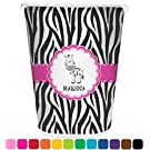 Zebra Personalized Trash Can (White)