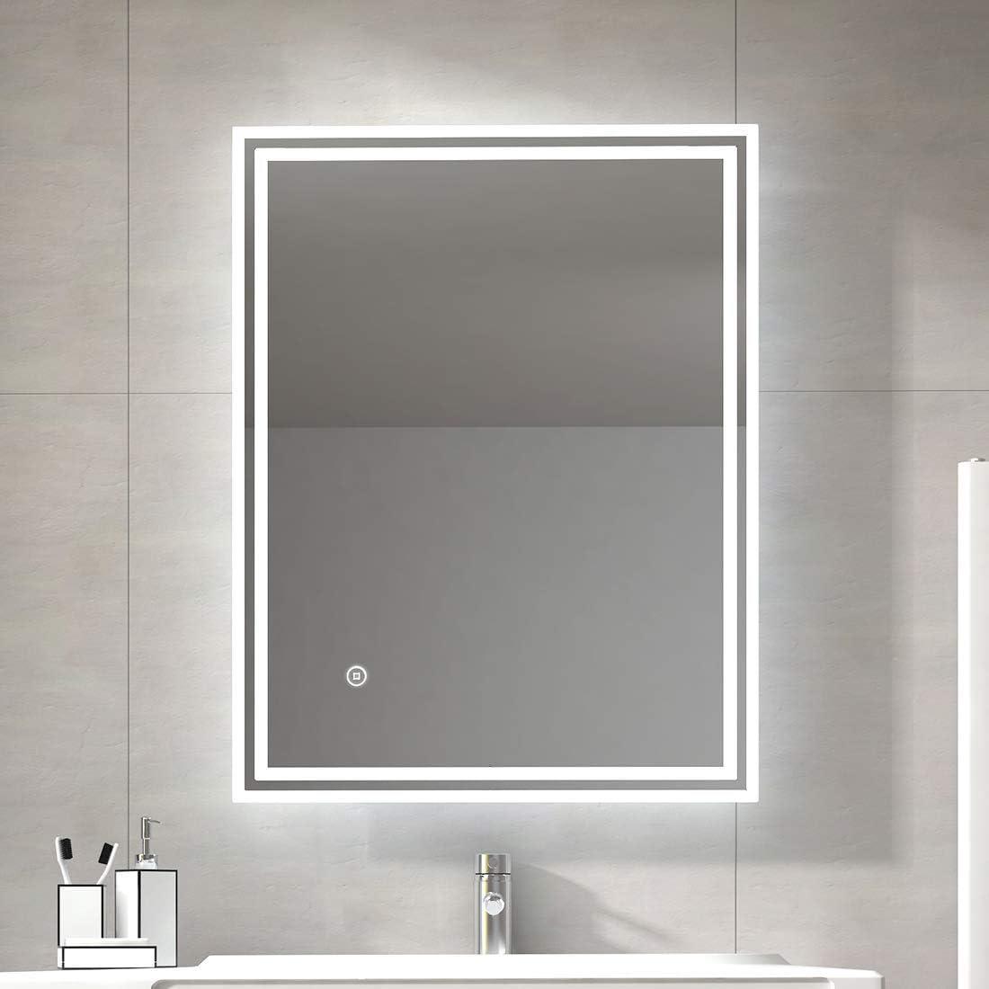 Demister 80x60cm Illuminated LED Bathroom Mirror LED Mirrors Light with Sensor