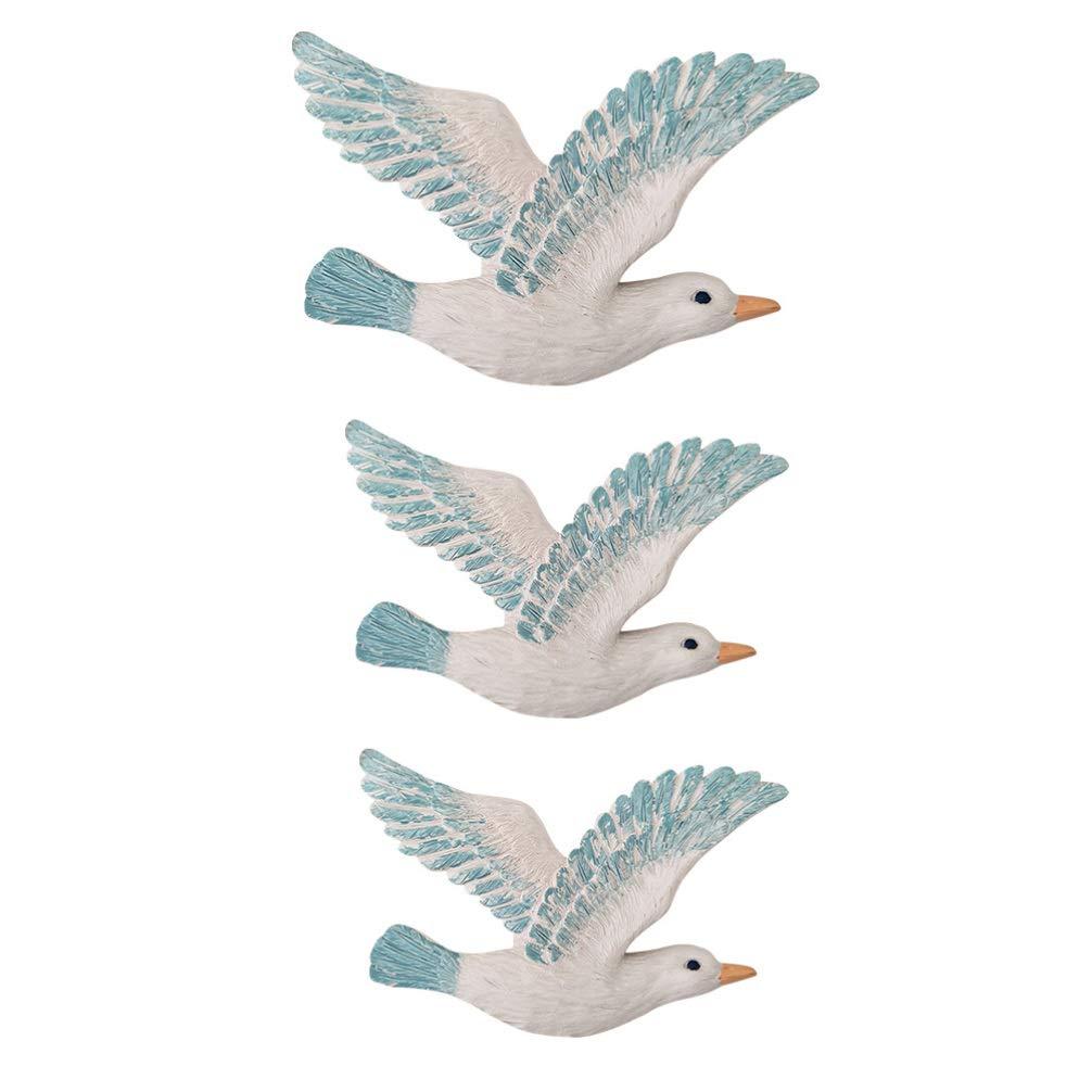 VOSAREA 3pcs Creativo Appeso a Parete Decorazione Stile mediterraneo gabbiani Uccelli marini Appeso a Parete Decor
