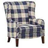 Stone & Beam Sadie Buffalo Check Wingback Chair For Sale