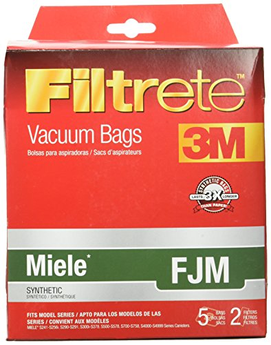 Miele FJM Synthetic Vacuum Bags and Filters by Filtrete, 5 Bags and 2 Filters