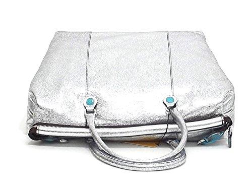 Gabs borsa donna a spalla, Maddy tg L, pelle metallizata, argento E8102