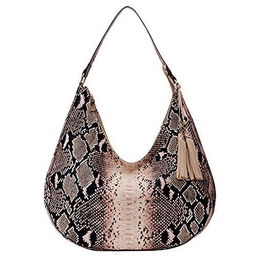 Felice Women Snakeskin Hobo Tote Handbag Python Shoulder Bag Faux Leather Large Capacity Satchel Purse