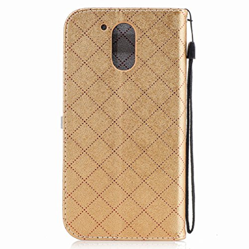 Yiizy Motorola Moto G4 Plus Custodia Cover, Amare Design Sottile Flip Portafoglio PU Pelle Cuoio Copertura Shell Case Slot Schede Cavalletto Stile Libro Bumper Protettivo Borsa (Dorato)