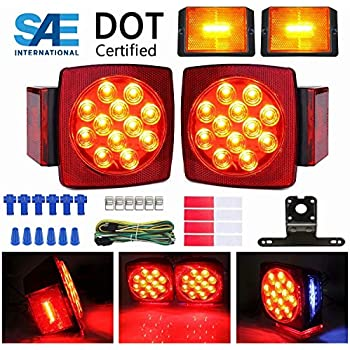 Tail Lights WoneNice LED Low Profile Submersible Trailer Tail Light Kit Turn Function for Boat Trailer 12V rectangle LED Trailer Lights Halo Glow with Wiring Harness Combined Stop