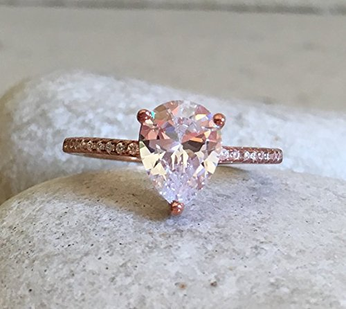 Rose Gold Cubic Zirconia Ring- Promise Ring- Simple Engageme