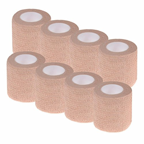 PartyYeah Pack of 8 Non-Woven Self Adhesive Wrap Bandages, Strong Elastic Self Adherent Cohesive Tape Bandages Rolls (2Inches x 5Yards) by PartyYeah