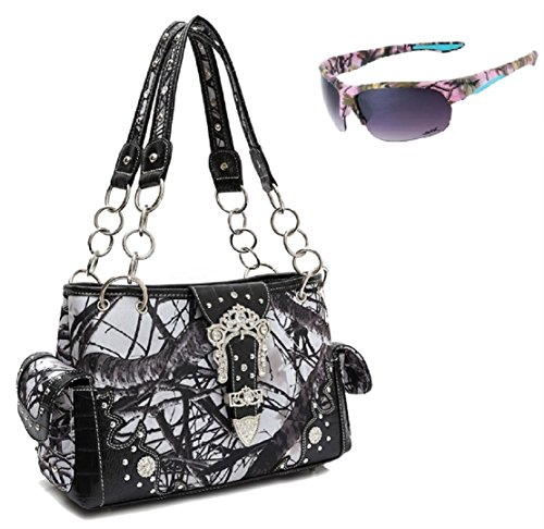 Cowgirl Trendy Concealed Carry Gun Purse White Sunglasses Camo Set Black
