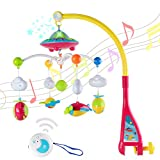 Wishtime Baby Crib Mobile Musical Toy Rotating Overhead Stars Dreams Projector Play Soothing Lullabies with Remote Control