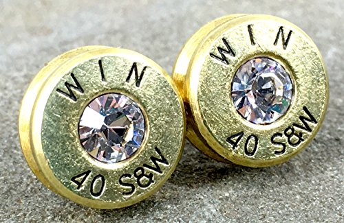 Bullet Earrings 40 Smith and Wesson Clear Diamond Designer Bullet Casing Jewelry