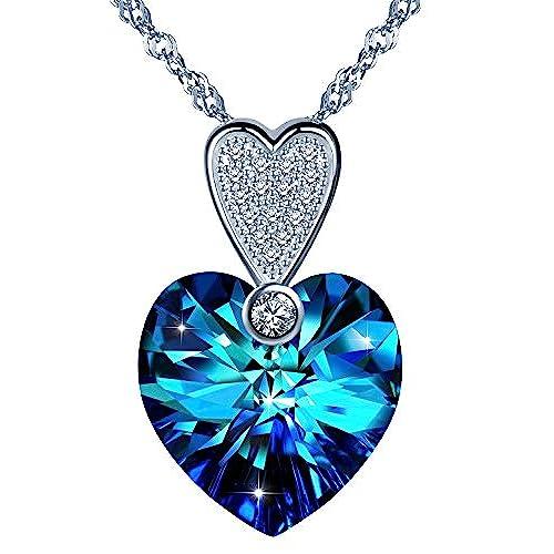 c74407fa3144 yumilok Jewelry – Pendientes de plata de ley 925 Circonita collar colgante  de cristal simple hecho