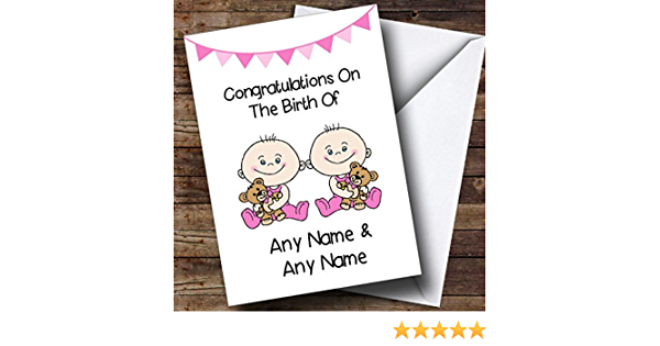 New Baby Arrival Baby Girl Triplet Daughters Personalised New Baby Card