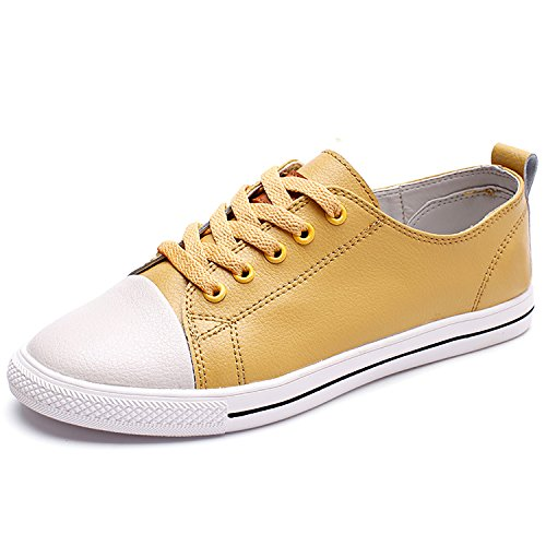 Odema Femmes En Cuir Oxfords Lacets Chaussures Plates Lowtop Hightop Mode Sneakers Simples Chaussures De Style Preppy Décontracté Lowtopyellow
