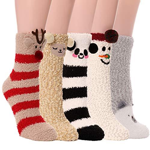 Womens Girls Fuzzy Slipper Socks Cabin Soft Fluffy Warm Cute Cozy Winter Christmas Socks 5 Pairs (Animal -