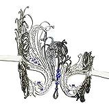 Luxury Mask Women's Swan Metal Filigree Laser Cut Venetian Masquerade Mask, Silver/Blue Stones, One Size
