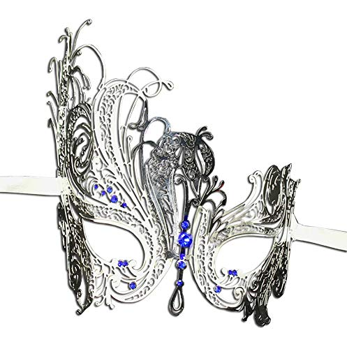 (Luxury Mask Women's Swan Metal Filigree Laser Cut Venetian Masquerade Mask, Silver/Blue Stones, One)