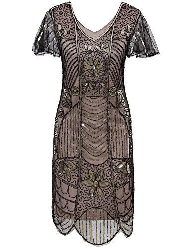 Vijiv Vintage 1920s Bead Sequin Embellished Flapper Cocktail Dress With Sleeves,Black Beige,Small -