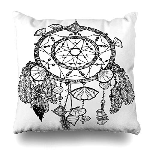Ahawoso Throw Pillow Cover Coloring Bohemian Dreamcatcher Gemstones Feathers Ethnic Hipster Tribal Native American Indian Chic Decor Zippered Cushion Case 18