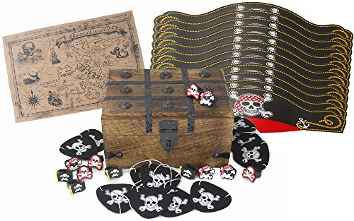 Well Pack Box Pirate Birthday Party Supplies Pack Including A Large Treasure Chest Box, Hats, Felt Eye Patches, Plastic Rings, And A Real Brown Vintage (Precious Pirate Hat)
