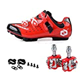 Men Women Mountain Bike Cycling Shoes And Pedals (black Red + Red,us11/eu44/ft28cm) | amazon.com