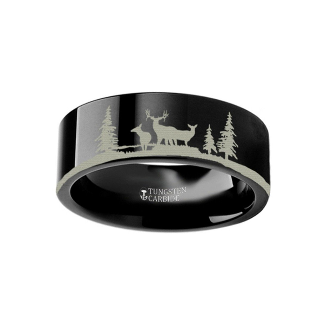 Thorsten Animal Nature Landscape Reindeer Deer Stag Forest Trees Ring Black Tungsten Ring 4mm Wide Wedding Band from Roy Rose Jewelry