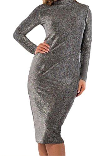Size Elegant Neck Hi Women Mid Solid Plus Dress Length Casual Grey Comfy 4XL tETnwxqOE
