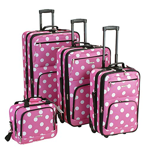 (Rockland Luggage Dots 4 Piece Luggage Set, Pink Dots, One Size)