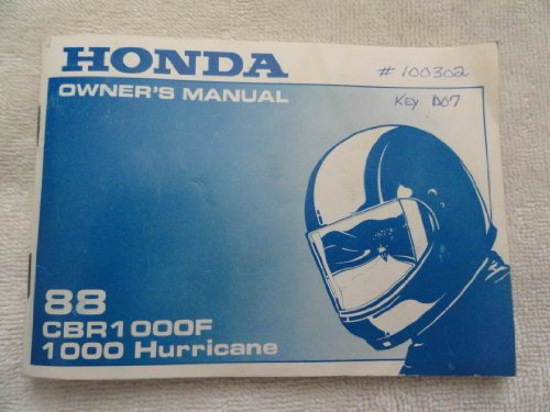 1988 Honda CBR1000 Owner's Manual CBR 1000 F Hurricane