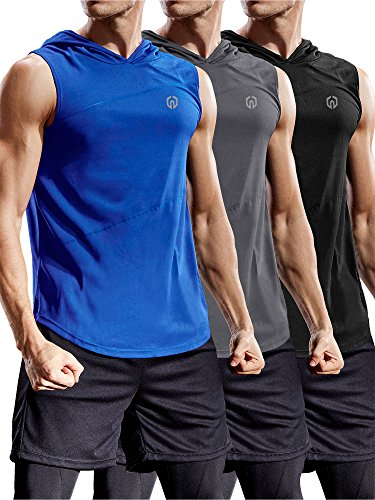 (Neleus 3 Pack Workout Athletic Gym Muscle Tank Top with Hoods,5036,Black,Blue,Grey,US L,EU XL)