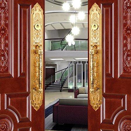 K8347 # Luxurious Mortise Lock Entry Entrance Front Door Handle Lockset (Double Door, Gold)