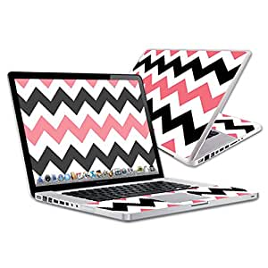 """MightySkins Protective Vinyl Skin Decal for Apple MacBook Pro 15"""" Retina wrap cover sticker skins Black Pink Chvrn"""