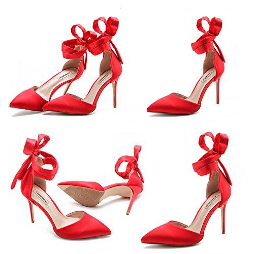 D'honneur Classic Pompes Straps Hauts Ladies Chaussures Mariage De Red8CM Demoiselle D'été Party Sandales Talons Femmes Cross P50xqwnO