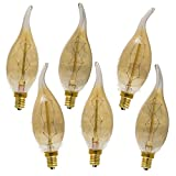 Enlightened Ambience 40 Watt Antique Edison Style Chandelier Light Bulb E-12 Dimmable with Flame Tip, Set of 6