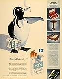 1936 Ad Kool Mild Menthol Cigarette Cork Willy Penguin - Original Print Ad