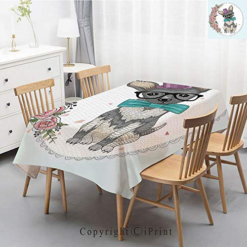 Wedding Party,Allover Print Christmas Fabric Tablecloth,Holly Berry Xmas Print Cloth Tablecloth,47x63 Inch,Vintage Kids,A Dog Puppy Retro Art Design Floral Heart and Flowers Roses Print Decorative,Lig