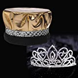 Silver Coronation Set, 2 1/4 inch High Adele Tiara and Metallic Gold Crown with Silver Braid and Faux Black Fur