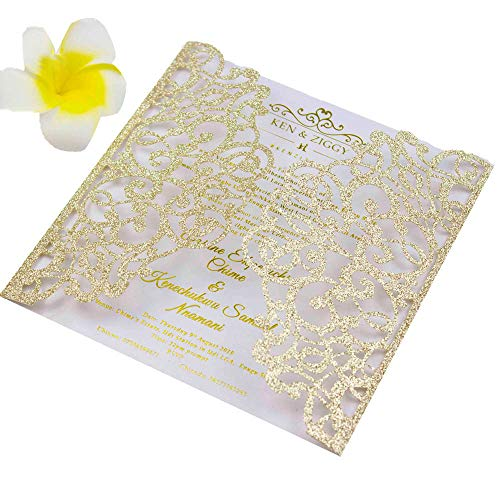 50 Sets 5.9×5.9 inch 250gsm Light Gold glitter Laser Cut Wedding Invitations Cards with Envelope Greeting invites 4 Engagement Birthday Bridal Show