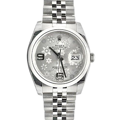 Rolex Datejust 36 Silver Floral Motif 2 Arab Dial Steel Mens Watch 116200