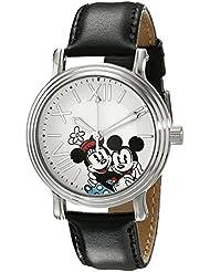 Disney Womens W001861 Mickey & Minnie Analog Display Analog Quartz Black Watch