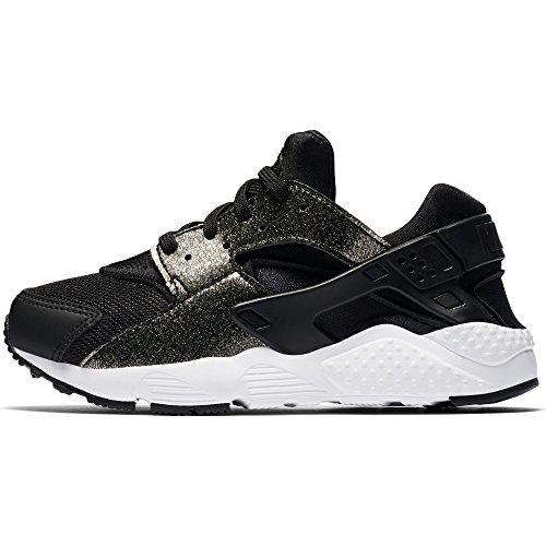 Nike Girl's Huarache Run SE Running Shoe, Black/Black-Metallic Gold-White, 13C by NIKE