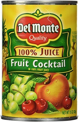 Del Monte 100% Juice Mixed Fruit Cocktail 15 oz. (Pack of 2)