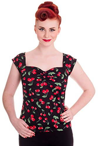 Cherry Pie Top Shirt - Hell Bunny Cherry Pie Retro 50's Blouse Top (US 6)