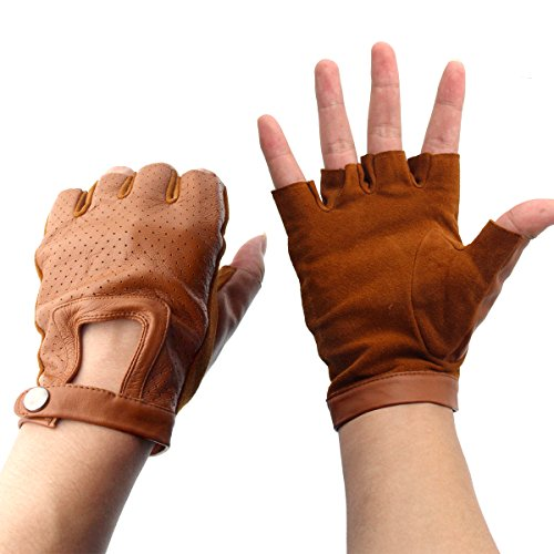 Evaliana Genuine Leather Sheepskin Fingerless Driving Gloves Motorcycle (Brown Leather Fingerless Gloves)