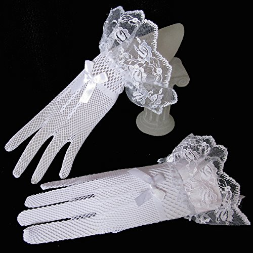 CIMC LLC Women's Wrist Length Spandex and Lace Fishnet Gloves,White (White Fishnets)