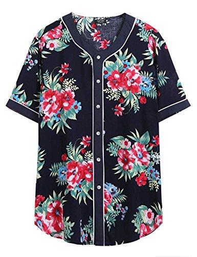 COOFANDY Men's Baseball Jersey Fashion Hipster Hip Hop Button Down Sportwear Shirts (Hipster Fashion)