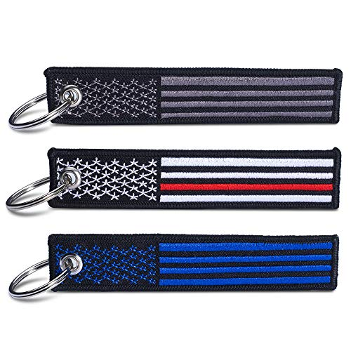 LONGZHEYU 3 Pack Flag Keychain Tag with Key Ring, EDC for Motorcycles, Scooters, Cars and Gifts